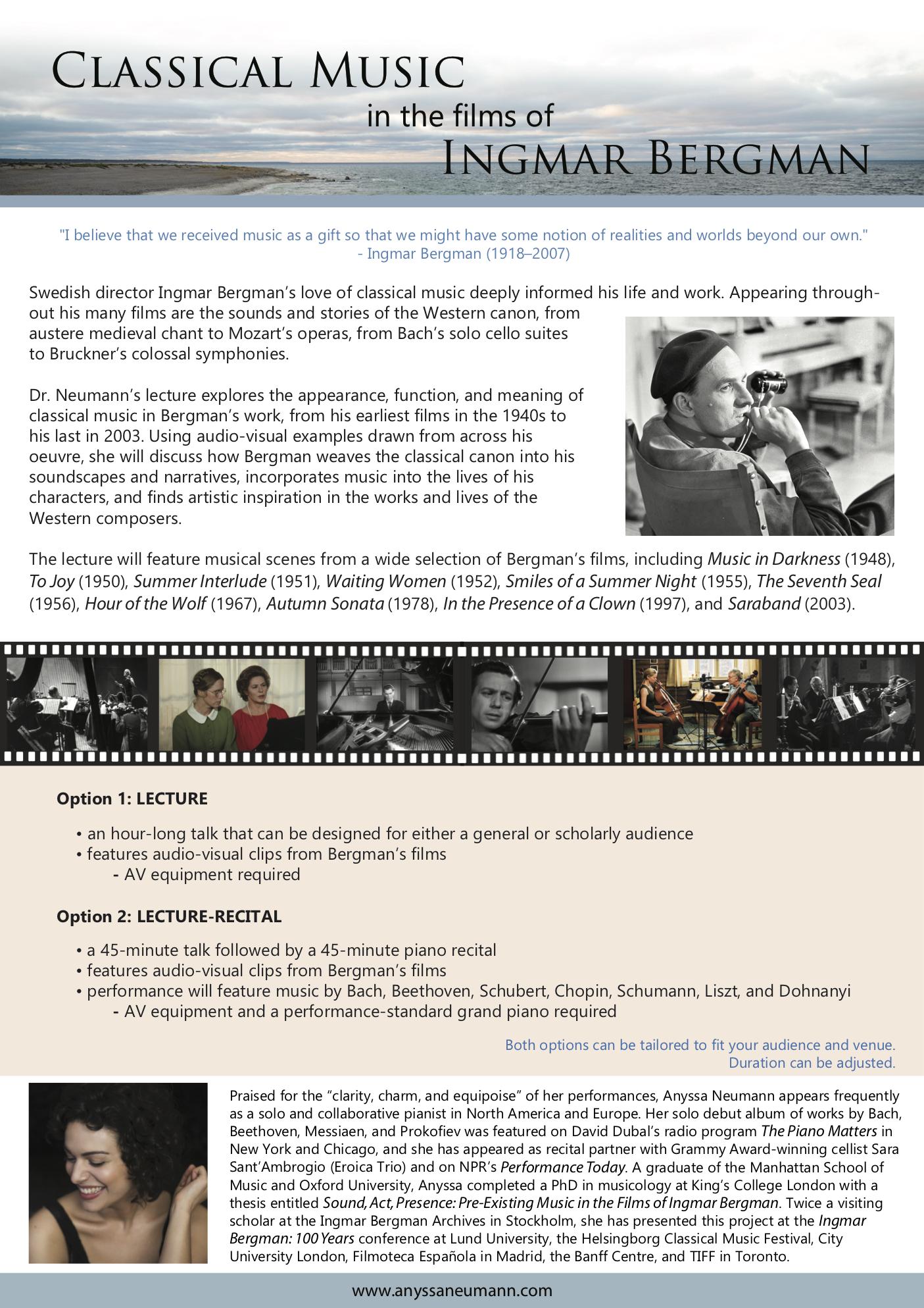 Ingmar Bergman lecture-recital